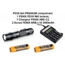 PD35 set prenium comprenant 1 Lampe PD35 960 lumens, 1 Chargeur Fenix ARE-C2, 2 Accus FENIX ARB-L18 3400mAh